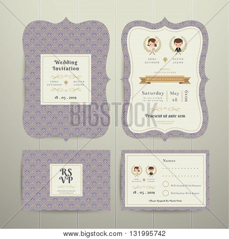 Art Deco Cartoon Couple Wedding Invitation Card RSVP Set Lavender on wood background