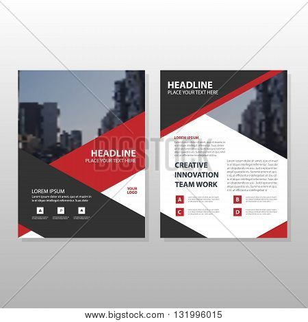 Red black triangle Leaflet Brochure Flyer annual report template design book cover layout design abstract business presentation template a4 size design