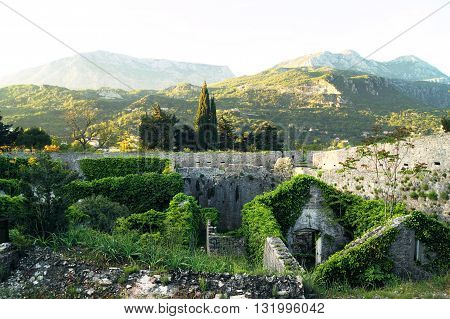Stone buildings in abandoned fortress Spanjola (Herceg Novi, Montenegro)