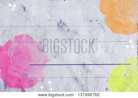 Floral Note Card Postcard Vintage Paper Scrapbooking