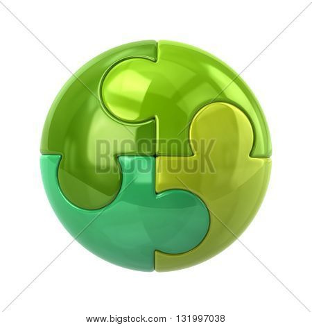 3d illustration of green spherical puzzle icon isolated on white background