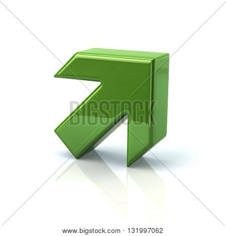 3d illustration of green arrow isolated on white background