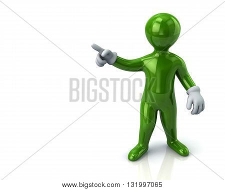 3d illustration of  green cartoon man pointing with his index finger on white background