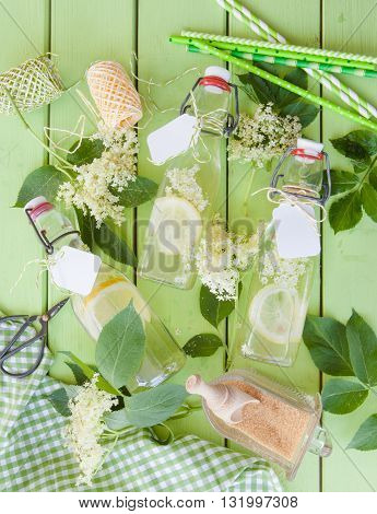 Refreshing homemade lemonade made from elderberry blossoms
