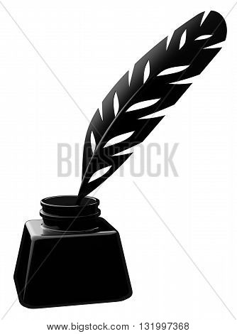 Feather In An Inkwell On White Background 3d Illustration