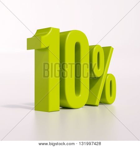 3d render: green 10 percent, percentage discount sign on white, 10%