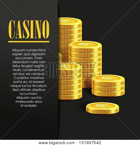 Casino Background or Flyer with Golden Money Coins. Vector Template. Casino Banner. Casino Games Gambling Template background.