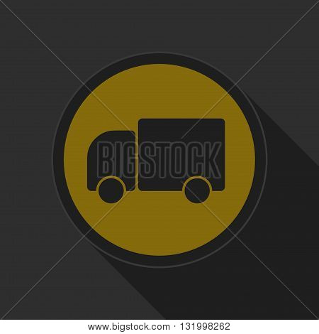 dark gray and yellow icon - lorry car on circle with long shadow