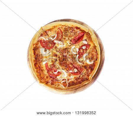 Tasty Italian pizza over white pepper, oily