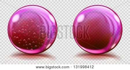 Big Pink Glass Spheres With Air Bubbles And Without
