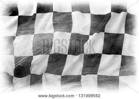 Checkered flag on plain background