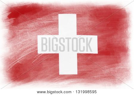 Swiss flag on plain background