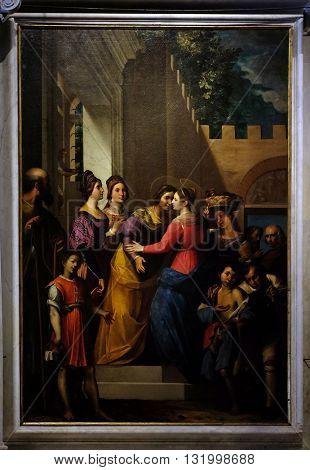 LUCCA, ITALY - JUNE 06, 2015: Altarpiece depicting Visitation of the Virgin Mary, work by Jacopo Ligozzi in Cathedral of St.Martin in Lucca, Italy, on June 06, 2015