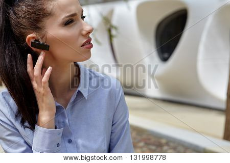 Businesswoman with  headset phone