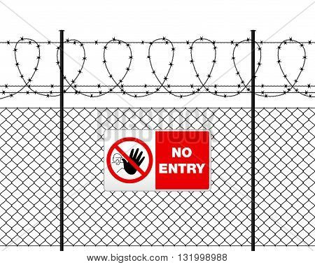 Metal Sign No Entry On Barbed Wire Fence