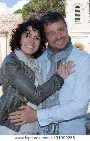Tourists - Loving Couple Hugging, Having Fun During Travel.