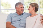 Portrait of smiling happy senior couple sitting at home. Senior couple relaxing at home and looking  poster