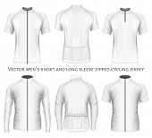 Mens short and long sleeve zipped cycling jersey. Fully editable handmade mesh. Vector illustration poster