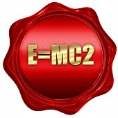 e = mc2, 3D rendering, a red wax seal poster