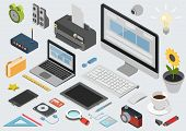 Flat 3d isometric technology workspace infographic icon set poster
