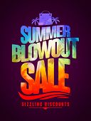 Sizzling discounts, summer blowout sale text design with tropical backdrop silhouette poster