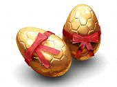 image of easter-eggs  - 3d render of luxury easter eggs wrapped in gold with red ribbon - JPG