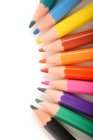 image of color wheel  - Coloured pencils on white background - JPG