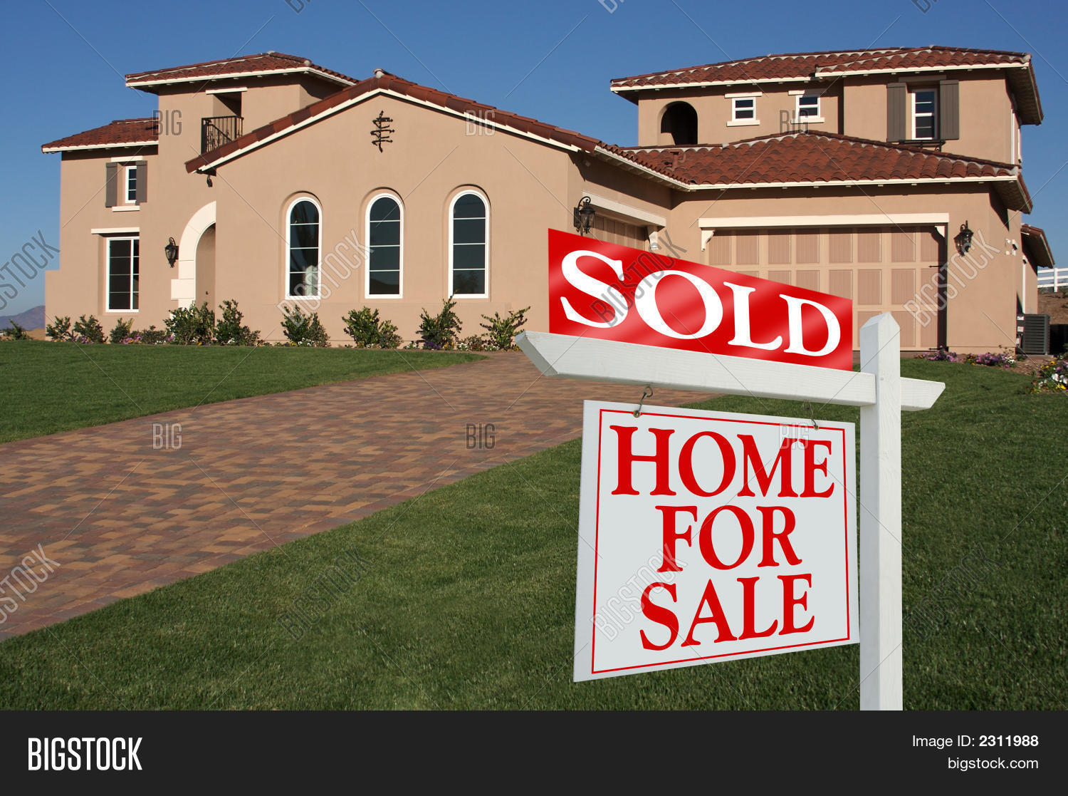 Sold Home Sale Sign Front New House Image & Photo | Bigstock
