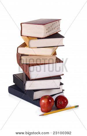Stack Of Hardbound Books On White