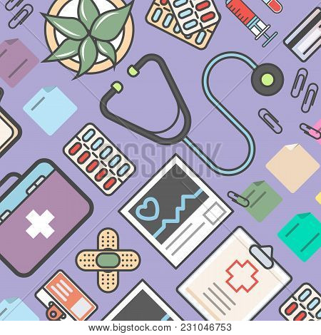 poster of Medicine Background With Medical Equipment  Illustration. Healthcare, Diagnosis And Treatment, Pharm