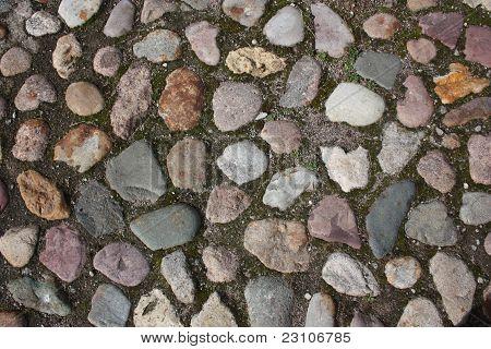 Old road of cobblestones.