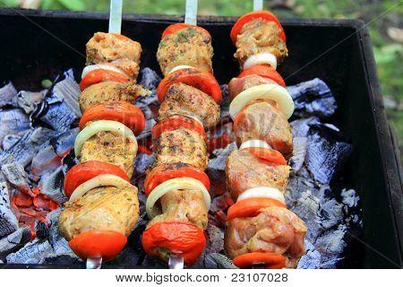 Bild mit gebratenem Fleisch