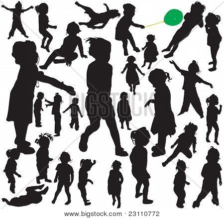 Little girl silhouettes