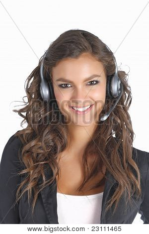 Cute support technician girl with headset