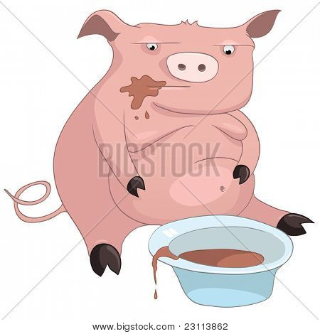 Cartoon Character Pig Isolated on White Background. Vector.