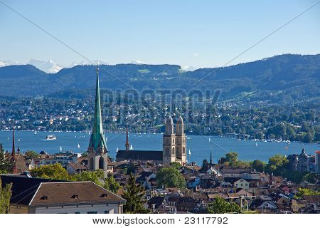 View over Zurich with the alps