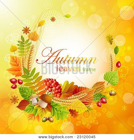 Autumn background with colorful leaves and place for text. Vector illustration.