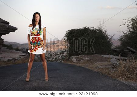 Young Girl In The Middle Of The Road