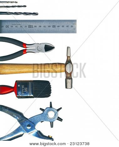 A set of tools - isolated on white background, with Clipping Path