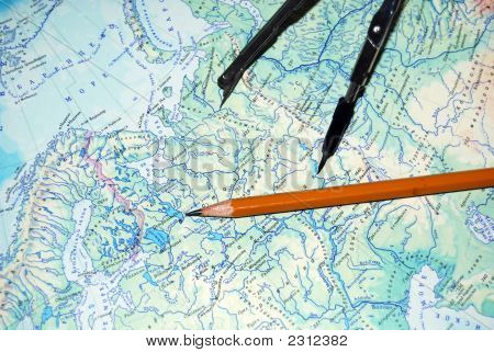 Map Pencil And Compasses