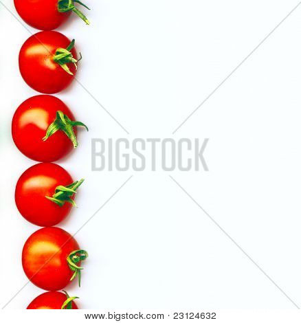 A line of red organic cherry tomatoes