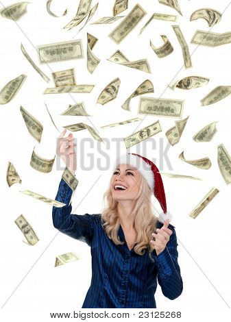 Christmas girl with dollars