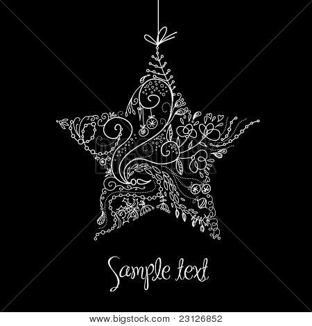 Black and White Christmas Star illustration.