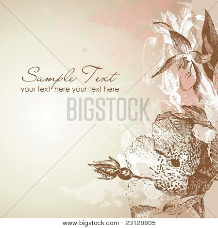 Antique floral card