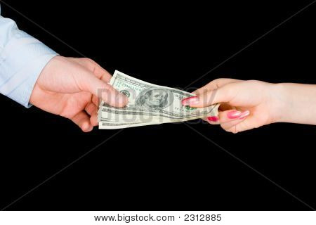 The Woman Transfers Money To The Man