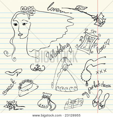 Wedding set of cute glamorous doodles