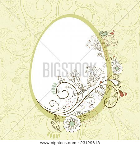 Easter egg with floral elements