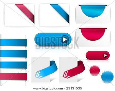 Blue and purple vector elements for web pages - buttons, navigation, pointers, arrows, badges, ribbons
