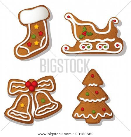 Set of highly detailed gingerbreads. Sock, Sledge, Bells & Tree. Vector Illustration.