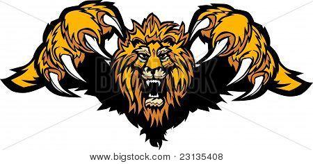 León mascota Pouncing